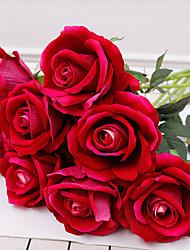abordables -simulation unique flanelle rose décoration de mariage à domicile simulation fleur mariée tenant des fleurs 8 bâtons