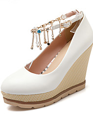 cheap -Women's Heels Wedge Heel Round Toe Rhinestone / Buckle / Tassel PU Spring &  Fall White / Blue / Pink