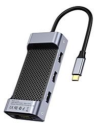 cheap -Baseus Square Desk Type-C-USB3.0*3 HD 4K*1 USB-C(PD)*1VGA*1TF/SD*1 Multi-functional HUB Deep gray