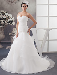 cheap -A-Line Wedding Dresses Sweetheart Neckline Chapel Train Organza Strapless with Ruched Beading Cascading Ruffles 2020