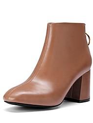 cheap -Women's Boots Chunky Heel Round Toe PU Mid-Calf Boots Fall & Winter Black / Brown / Beige