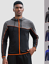 cheap -YUERLIAN Men's Full Zip Track Jacket Running Jacket Hoodie Jacket Hooded Running Fitness Jogging Windproof Breathable Soft Sportswear Jacket Long Sleeve Activewear Stretchy