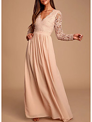 cheap -A-Line Plunging Neck Floor Length Chiffon / Lace Bridesmaid Dress with Lace / Pleats / Open Back