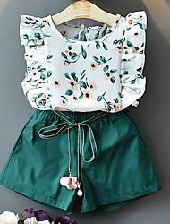 cheap -Kids Girls' Basic Geometric Sleeveless Clothing Set White
