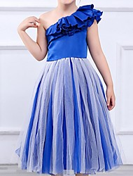 cheap -Princess Tea Length Pageant Flower Girl Dresses - Polyester Sleeveless One Shoulder with Cascading Ruffles
