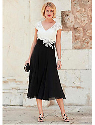 cheap -A-Line Mother of the Bride Dress Plus Size V Neck Tea Length Chiffon Lace Short Sleeve with Lace Ruching 2020 Mother of the groom dresses