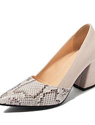 cheap -Women's Heels Chunky Heel Pointed Toe Snakeskin Vintage / Casual Spring & Summer Black / Beige / Color Block
