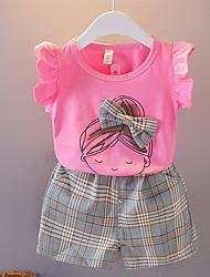 cheap -Kids Girls' Clothing Set Short Sleeve Purple Blushing Pink Fuchsia Cartoon Easter Basic