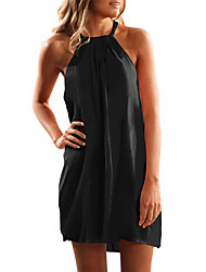 cheap -Women's Basic Asymmetrical A Line Dress - Solid Colored Halter Neck Black Yellow Brown S M L XL