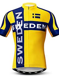 abordables -21Grams Homme Manches Courtes Maillot Velo Cyclisme Jaune Suède Drapeau National Cyclisme Maillot Hauts / Top VTT Vélo tout terrain Vélo Route Respirable Evacuation de l'humidité Séchage rapide Des