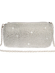 cheap -Women's Crystals Polyester Evening Bag Solid Color Black / Gold / Silver