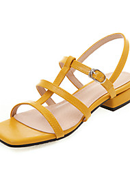cheap -Women's Sandals Low Heel Open Toe PU Casual / Preppy Summer Black / Almond / Yellow