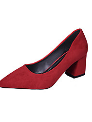cheap -Women's Heels Chunky Heel Pointed Toe Suede Fall Black / Yellow / Red