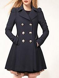 abordables -Femme Quotidien Grandes Tailles Longue Manteau, Couleur Pleine Revers Cranté Manches Longues Polyester Noir / Beige / Bleu Marine