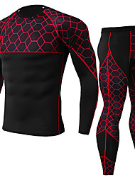 cheap -JACK CORDEE Men's Long Sleeve Cycling Jersey with Tights Compression Suit Winter Fleece Polyester Black / Red Green Red Bike Clothing Suit Thermal / Warm Breathable Quick Dry Sweat-wicking Sports