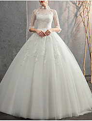 cheap -Ball Gown High Neck Floor Length Lace 3/4 Length Sleeve Made-To-Measure Wedding Dresses with Appliques / Lace Insert 2020