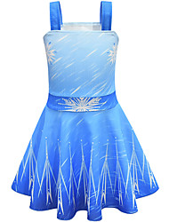 cheap -Kids Girls' Active Sweet Snowflake Sleeveless Knee-length Dress Blue