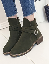 cheap -Women's Boots Chunky Heel Round Toe Suede Booties / Ankle Boots Winter Green / Black