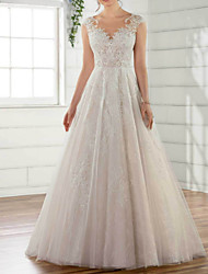 cheap -A-Line V Neck Sweep / Brush Train Tulle Regular Straps Wedding Dresses with Appliques 2020