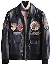 cheap -Pilot Retro Vintage Winter Jacket Thunderbirds Jacket Men's Leather Costume Black Vintage Cosplay Party Halloween Long Sleeve / Coat