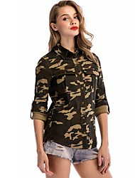cheap -Women's Camo Hiking Shirt / Button Down Shirts Long Sleeve Outdoor Lightweight Breathable Quick Dry Wear Resistance Shirt Autumn / Fall Spring Cotton Camouflage Hunting Camping / Hiking / Caving