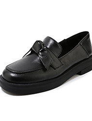 cheap -Women's Loafers & Slip-Ons Low Heel Square Toe Bowknot PU Casual Spring & Summer Black / Beige