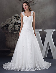 cheap -A-Line Wedding Dresses Sweetheart Neckline Chapel Train Lace Tulle Spaghetti Strap with Beading Appliques 2020