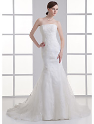 cheap -Mermaid / Trumpet Strapless Chapel Train Satin Strapless Wedding Dresses with Buttons / Beading / Appliques 2020
