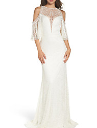 cheap -Sheath / Column Jewel Neck Sweep / Brush Train Chiffon / Lace 3/4 Length Sleeve Wedding Dresses with Beading 2020