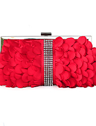 cheap -Women's Crystals / Sashes / Ribbons Silk Evening Bag Solid Color Black / Red