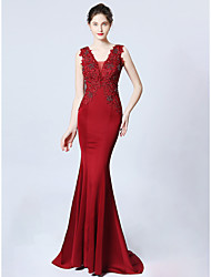 cheap -Mermaid / Trumpet Plunging Neck Sweep / Brush Train Satin Dress with Appliques by LAN TING Express