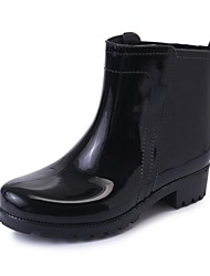 cheap -Women's Boots Low Heel Round Toe Patent Leather Mid-Calf Boots Spring & Summer Black