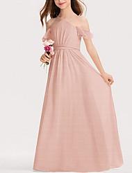 cheap -A-Line Floor Length Flower Girl Dress - Polyester Short Sleeve Spaghetti Strap with Bow(s)