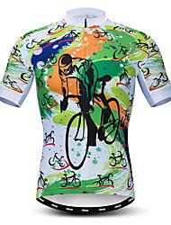 abordables -21Grams Homme Manches Courtes Maillot Velo Cyclisme Vert Cyclisme Maillot Hauts / Top VTT Vélo tout terrain Vélo Route Respirable Evacuation de l'humidité Séchage rapide Des sports Polyester / Lycra