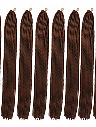 cheap -Costume Accessories Crochet Hair Braids Straight Box Braids Natural Color Synthetic Hair 23 inch Braiding Hair 8pcs / There are 24 roots in one piece. Normally 5-10 pieces are enough for a full head.