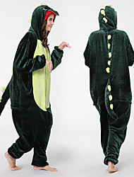 cheap -Adults' Kigurumi Pajamas Dinosaur Onesie Pajamas Polyester Dark Green Cosplay For Men and Women Animal Sleepwear Cartoon Festival / Holiday Costumes / Leotard / Onesie / Leotard / Onesie