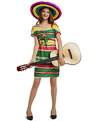 cheap -Adults' Women's Ethnic & Interracial Mexico Dress Party Costume For Party Halloween Polyester Halloween Carnival Masquerade Dress