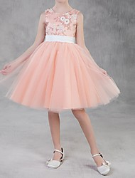 cheap -A-Line Knee Length Pageant Flower Girl Dresses - Polyester Sleeveless Jewel Neck with Appliques