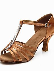Недорогие -Жен. Танцевальная обувь Сатин Обувь для латины Crystal / Rhinestone На каблуках Кубинский каблук Персонализируемая Черный / Коричневый