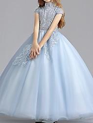 cheap -Ball Gown Floor Length Flower Girl Dress - Polyester Short Sleeve High Neck with Ruching