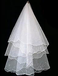 cheap -One-tier Classic & Timeless Wedding Veil Elbow Veils with Faux Pearl / Trim Tulle