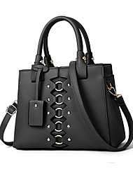 cheap -Women's Rivet PU Leather / Faux Leather Tote Leather Bags Solid Color Wine / Black / Yellow / Fall & Winter