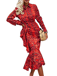 cheap -Women's Event / Party Daily Sophisticated Elegant Sheath Dress - Paisley Yellow Red S M L XL
