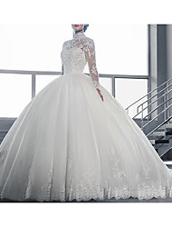 cheap -Ball Gown High Neck Court Train Tulle Long Sleeve Glamorous / Vintage See-Through / Backless / Illusion Sleeve Wedding Dresses with Lace Insert / Appliques 2020