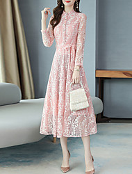 cheap -Women's Party / Evening Date Sophisticated Elegant Swing Dress - Geometric Lace Drawstring Black White Blushing Pink M L XL XXL