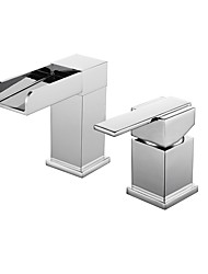 cheap -Bathroom Sink Faucet - Waterfall Chrome Widespread Single Handle Two HolesBath Taps