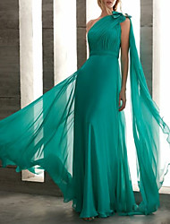 cheap -Sheath / Column Elegant Turquoise / Teal Wedding Guest Formal Evening Dress One Shoulder Sleeveless Floor Length Chiffon with Bow(s) Ruched Draping 2020