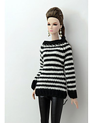cheap -Doll Dress Casual For Barbiedoll Woolen Artificial Wool Dress For Girl's Doll Toy