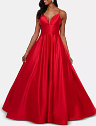 cheap -A-Line Plunging Neck Floor Length Stretch Satin Dress with Pleats by LAN TING Express