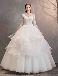 cheap -Ball Gown Jewel Neck Floor Length Lace / Tulle Half Sleeve Made-To-Measure Wedding Dresses with Appliques / Cascading Ruffles 2020